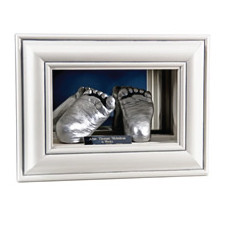 3D Double Casts in Mirror Display Box- Silver Feet by Calli's Corner