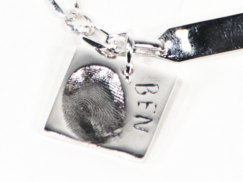 Square Fingerprint or Imprint Charm
