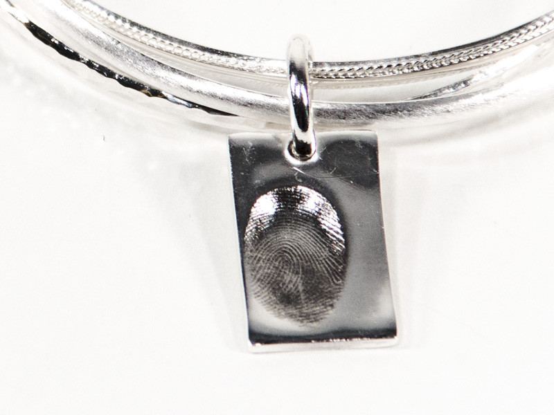 Rectangle Fingerprint or Imprint Charm