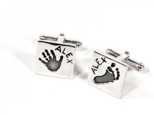 Fingerprint or Imprint Cufflinks in Square Shape
