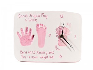 Double Ceramic Baby Imprints Clock