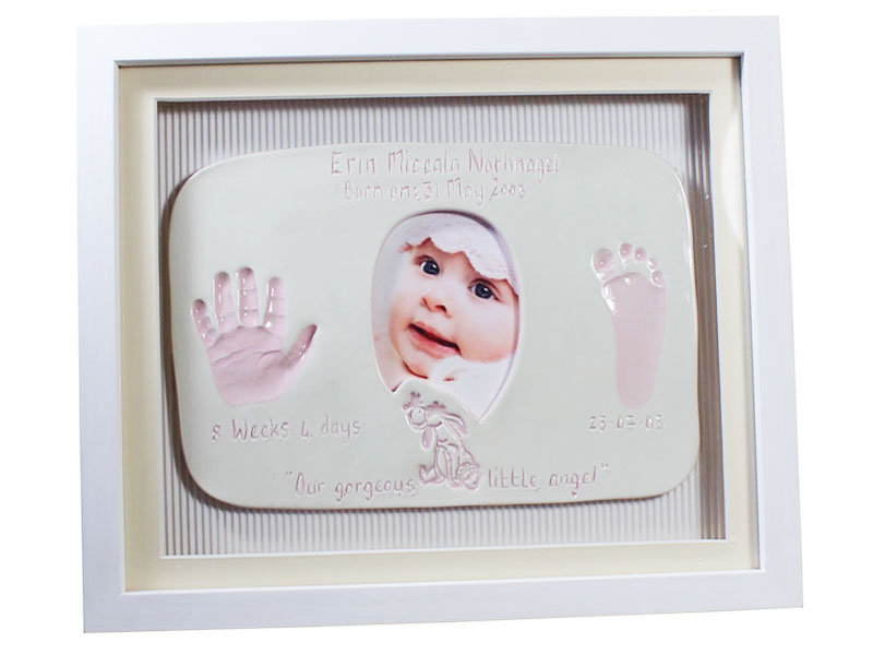 Double Ceramic Photo and Baby Imprints, Framed