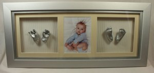 3D Four Single baby Casts in Standard Frame with Photo by Calli's Corner